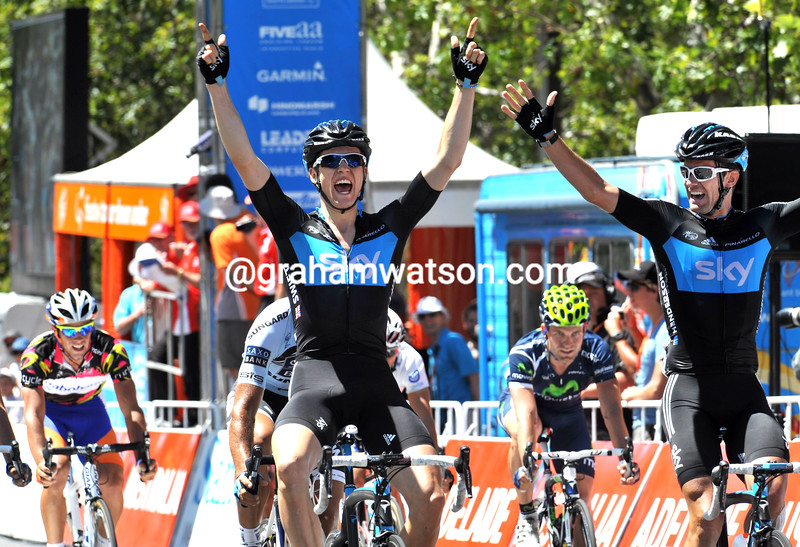 BEN SWIFT WINS ON STAGE SIX OF THE 2011 TOUR DOWN UNDER WITH GREG HENDERSON (right) ALONGSIDE