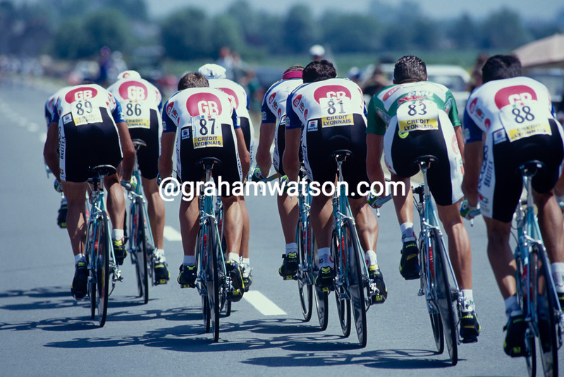 The MG-GB team in the 1993 Tour de France