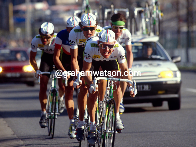 Charly Mottet leads the RMO team in the 1993 Paris-Nice