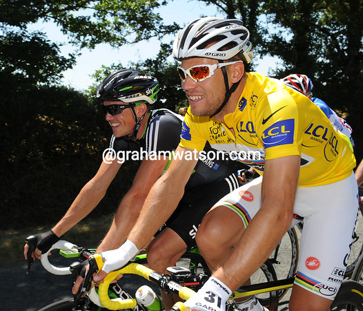 THOR HUSHOVD AND SIMON GERRANS ON STAGE THREE OF THE 2011 TOUR DE FRANCE