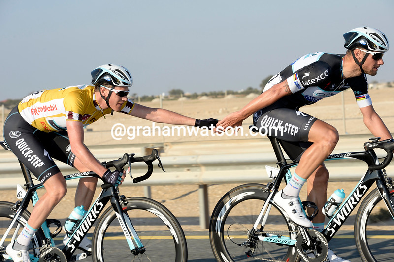 Tom Boonen and Niki Terpstra on stage two of the 2014 Tour of Qatar