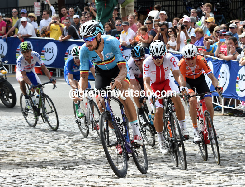 Tom Boonen leads an escape in the 2015 Mens World Road Championships