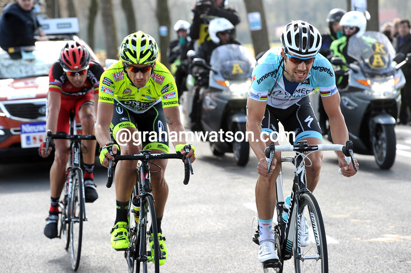 Tom Boonen leads an escape in the 2012 Tour of Flanders