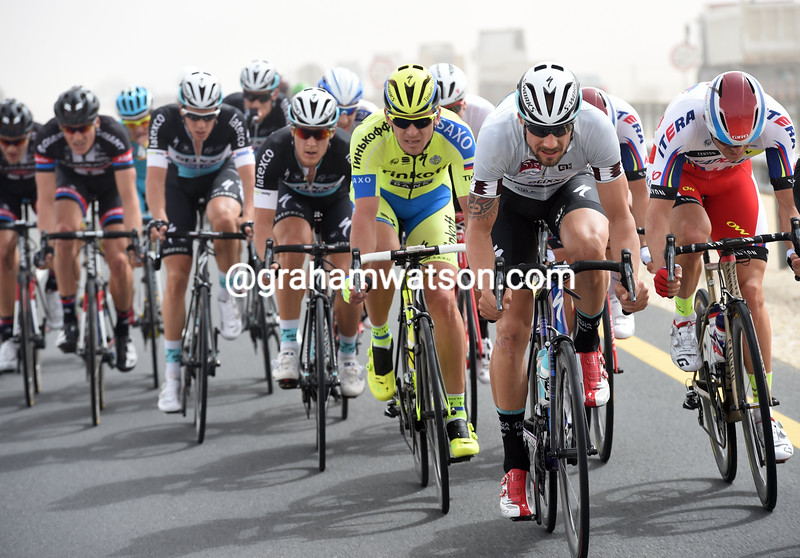 Tom Boonen leads an escape on stage two of the 2015 Tour of Qatar