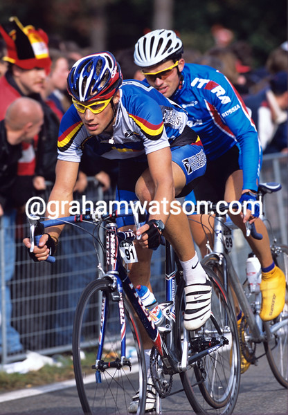 TOM BOONEN RACES FOR BELGIUM IN THE 2002 WORLD CHAMPIONSHIPS IN ZOLDER