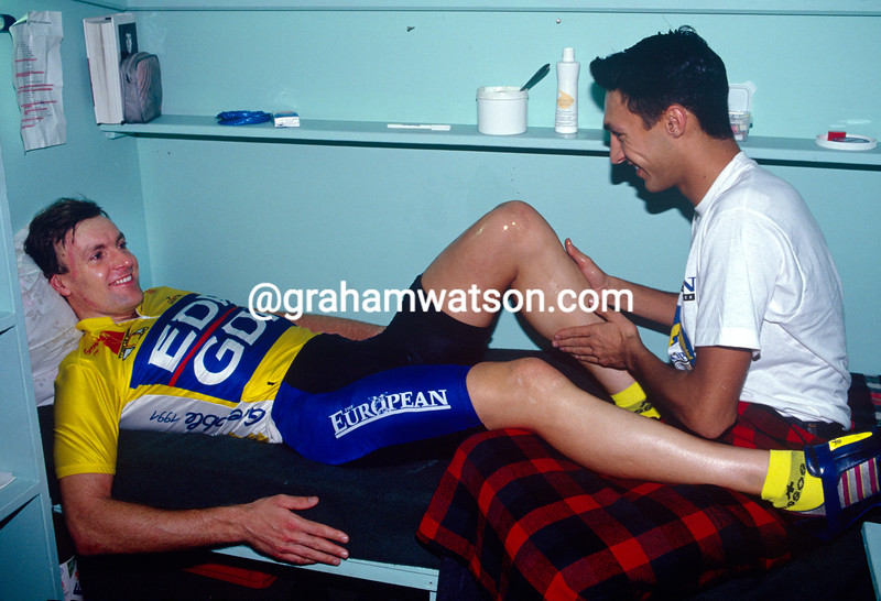 Tony Doyle has a massage in the 1988 Ghent Six-Day