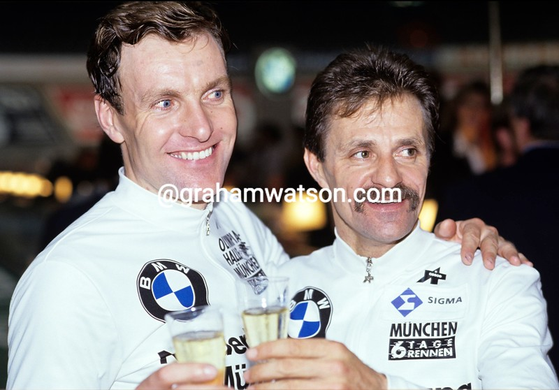 Danny Clark and Tony Doyle in the 1990 Munich 6-Day event