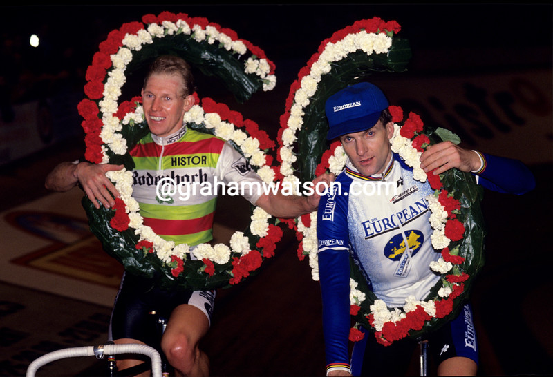 Etienne DeWilde and Tony Doyle in the 1986 Ghent 6-Day race