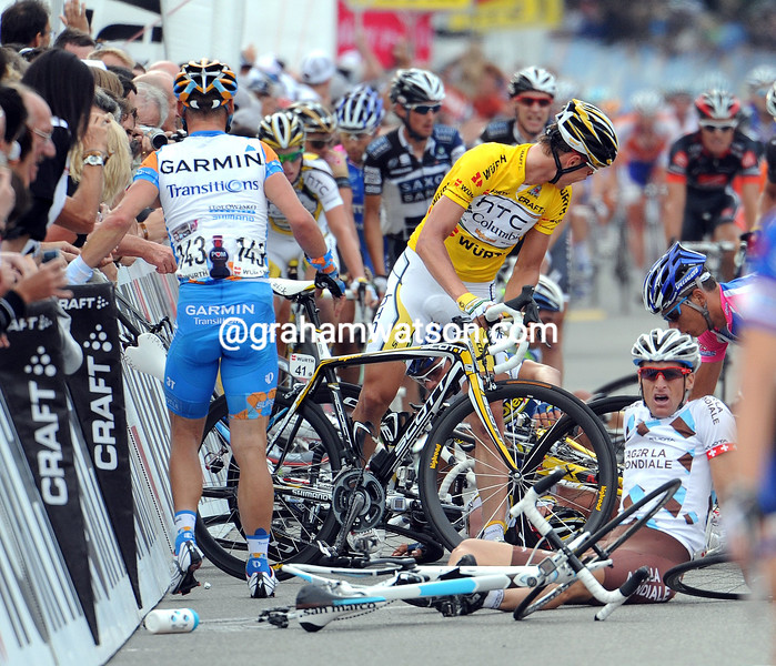 TONY MARTIN LOOKS BACK AT A CRASH ON  STAGE FOUR OF THE 2010 TOUR OF SWITZERLAND