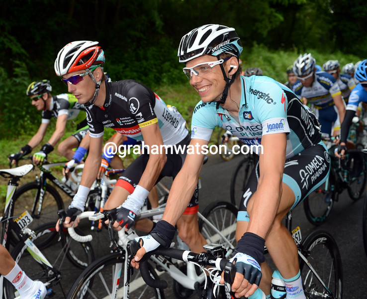 Tony Martin and Andy Schleck on stage three of the 2012 Dauphine-Libere