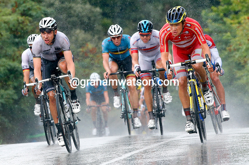 Tony Martin and Chris Juul-Jensen in the mens road race at the 2014 World Road Championships