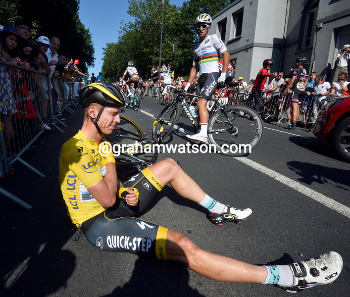 Tony Martin after a crash on stage six of the 2015 Tour de France
