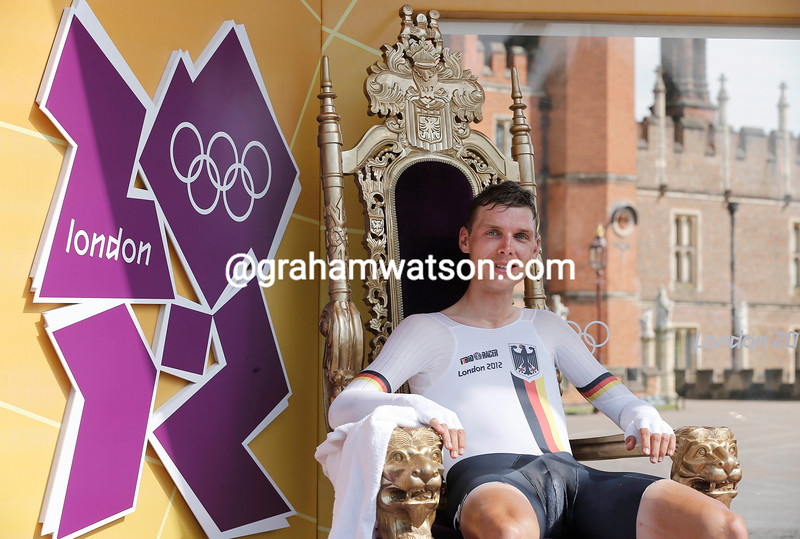 Tony Martin sits in the hot seat at the 2012 Mens Olympic Time Trial