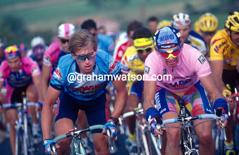 Tony Rominger and Evgeni Berzin in the 1995 Giro d'Italia