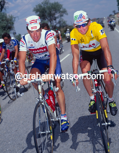 Tony Rominger and Stephen Roche in the 1992 Tour of Spain
