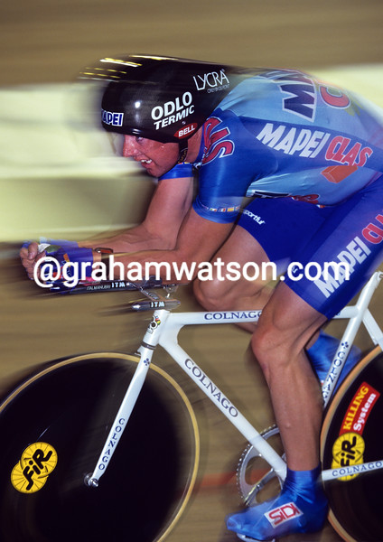 Tony Rominger in his one hour record attempt in 1994