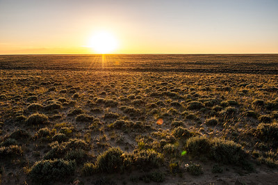 Sunset highlighted just how empty and lonesome the Great Divide basin of Wyoming is.