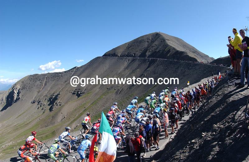 The Tour de France crosses the Col de la Restefond/Cime de Bonette in 2008