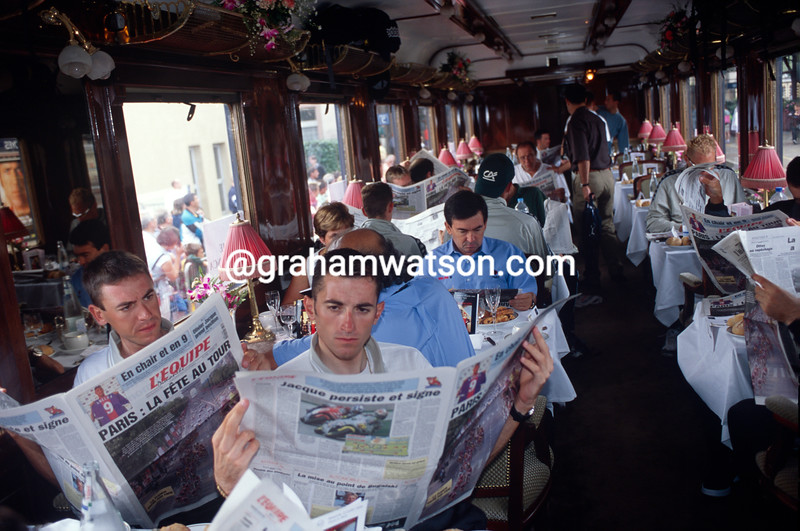 Cyclists transfer to Paris aboard the Orient Express in the 1999 Tour de France
