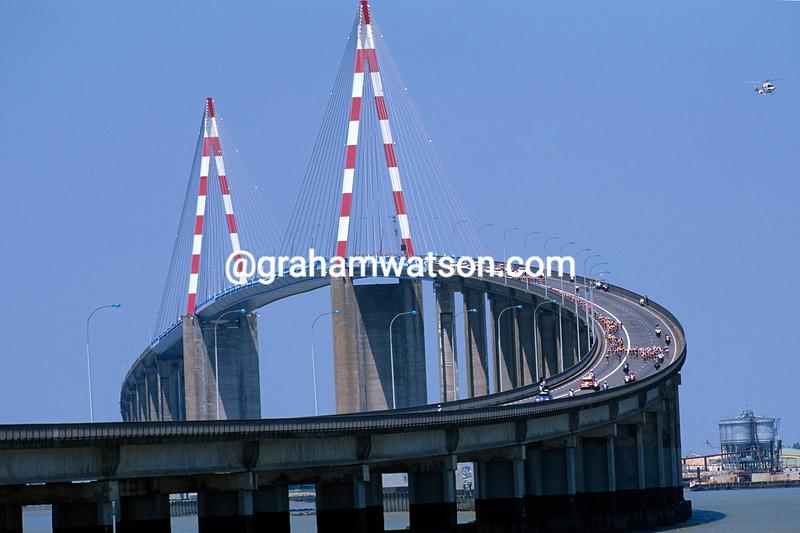 The 1996 Tour de France crosses the Pont de St Nazaire