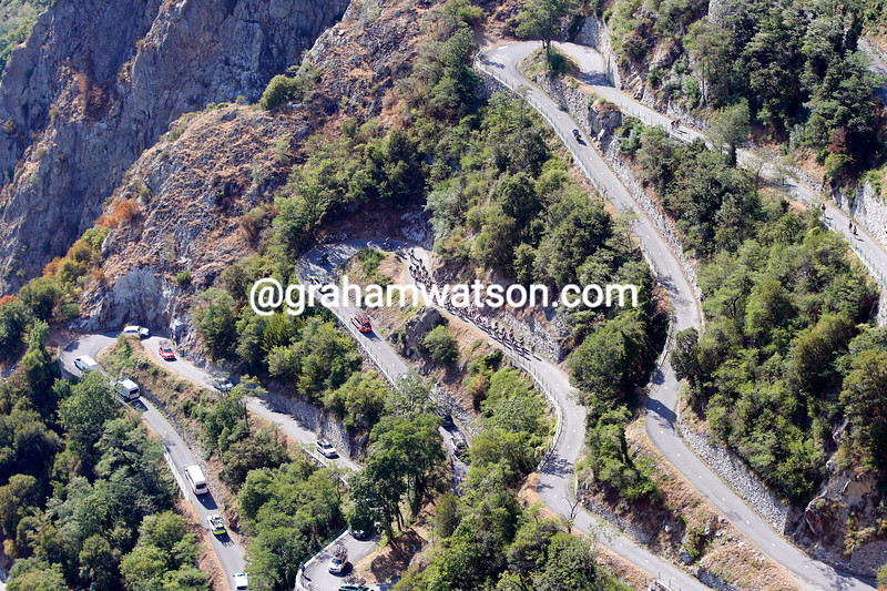The peloton climbs the Lacets of Montvernier on stage eighteen of the 2015 Tour de France