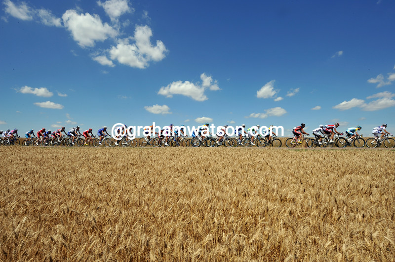 THE PELOTON ON STAGE TWELVE OF THE 2009 TOUR DE FRANCE
