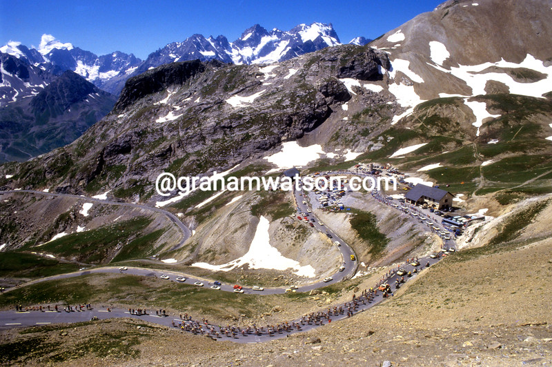 Cyclists climbs the Col du Galibier in the 1986 Tour de France