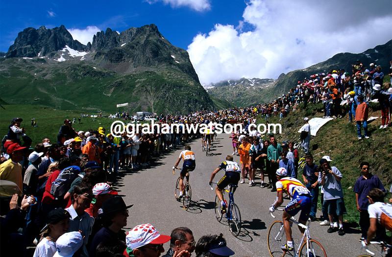 Cyclists climb the Col du Glandon in the 1997 Tour de France