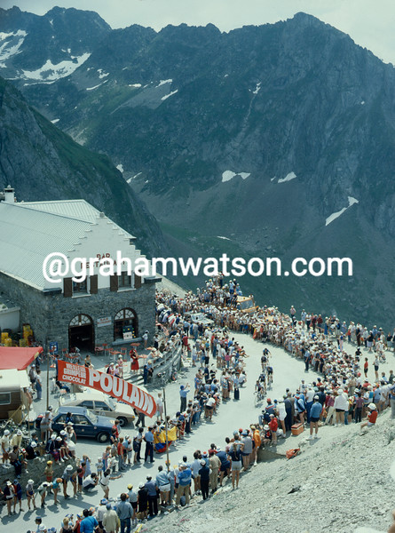 The 1983 Tour de France crosses the summit of the Col du Tourmalet