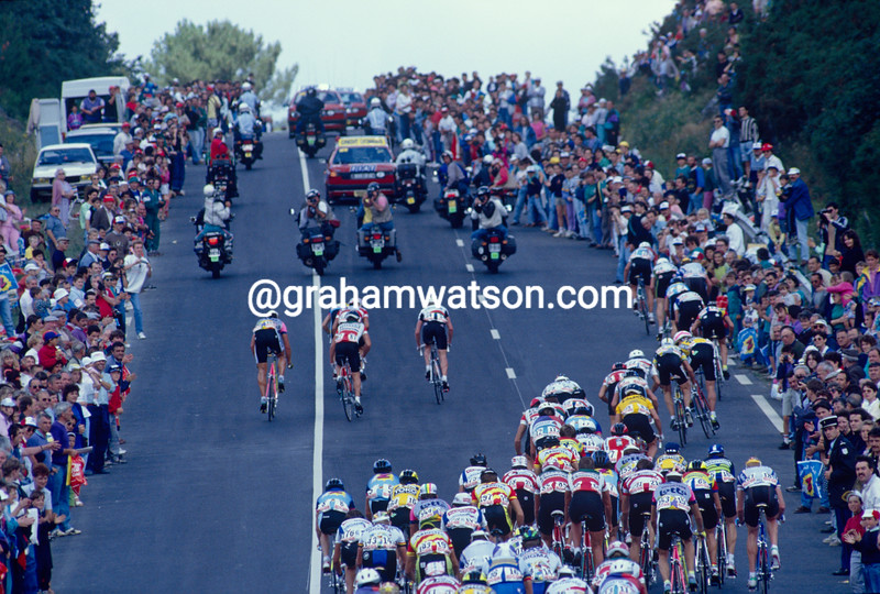 Cyclists climb a hill south of Paris in the 2000 Tour de France