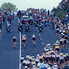 Cyclists climb a hill south of Paris in the 2000 Tour de France