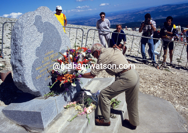 The Tom Simpson memorial on Mont Ventoux