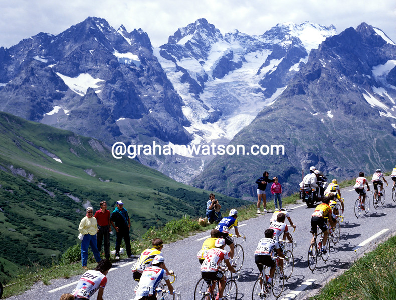 Cyclists climb the Col du Galibier in the 1987 Tour de France