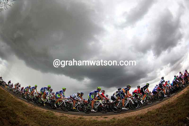 THE PELOTON ON STAGE SIX OF THE 2011 TOUR DE FRANCE