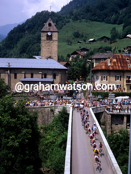 Cyclists climb in the Alps in the 1997 Tour de France