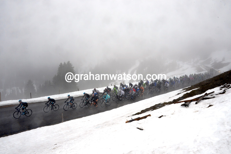 The peloton climbs into the Alps on stage four of the 2013 Tour of Romandy