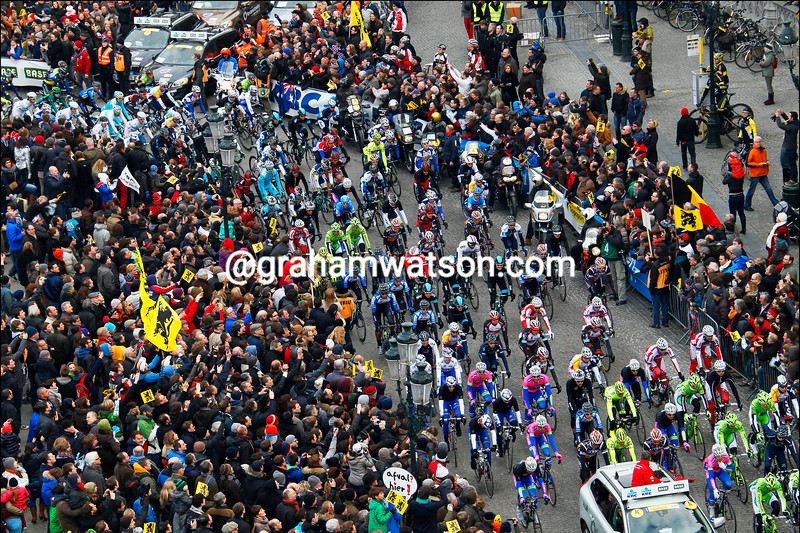 The start of the 2013 Tour of Flanders in Bruges