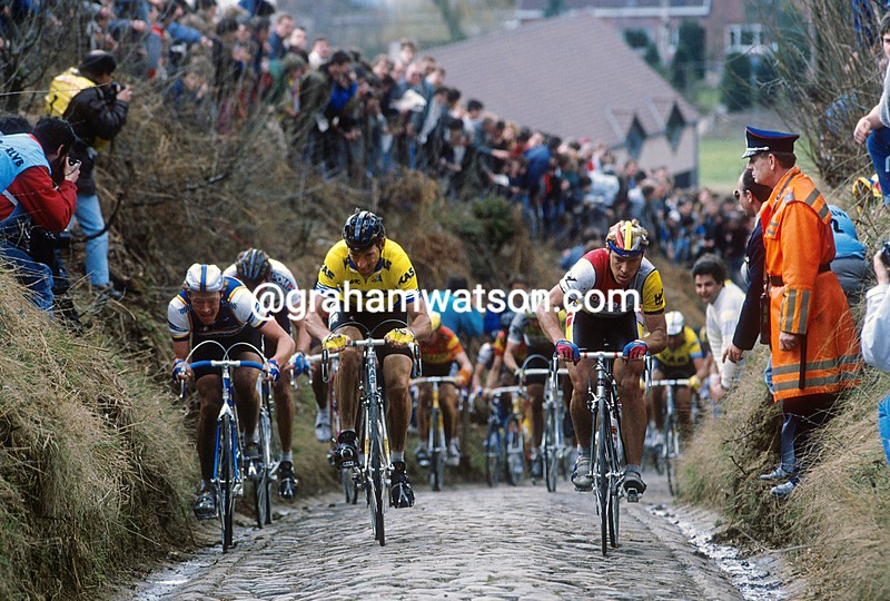 Sean Kelly, Eric Vanderaerden and Steve Bauer in the 1987 Tour of Flanders