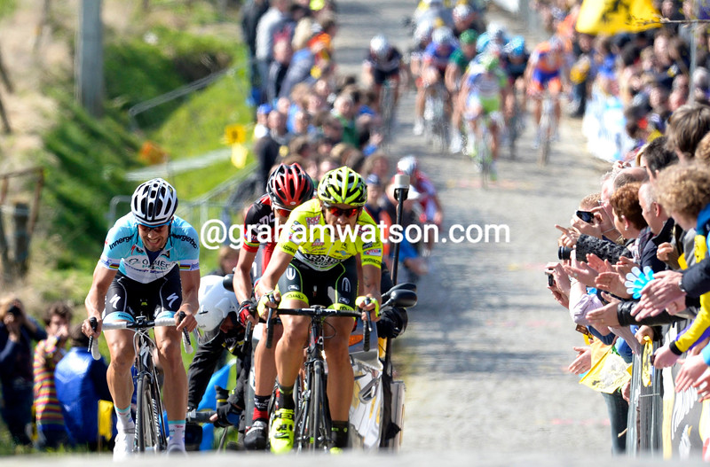 Filippo Pozzato leads an escape on the Paterberg in the 2012 Tour of Flanders