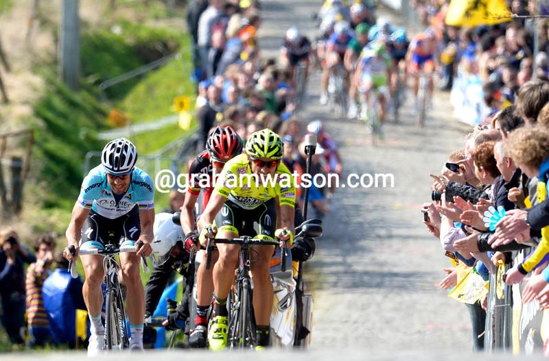 Filippo Pozzato leads an escape on the Paterberg in the 2012 Tour of Flanders