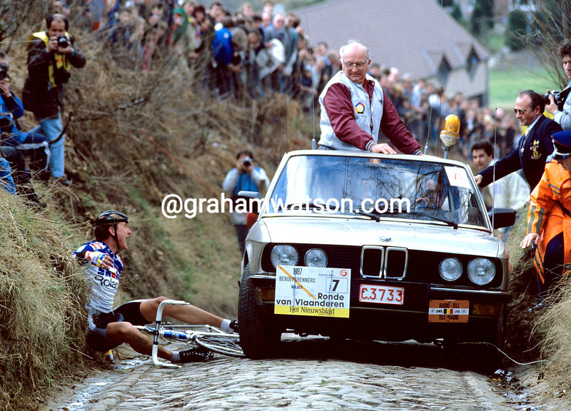 Jesper Skibby is hit by a race vehicle on the Koppenberg climb during the 1987 Tour of Flanders