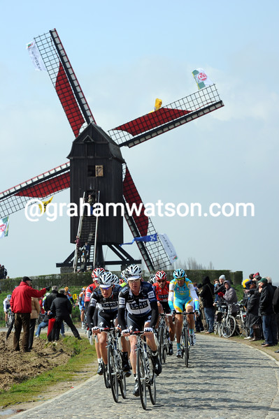 The windmill at Wannegem-Lede IN THE 2010 TOUR OF FLANDERS