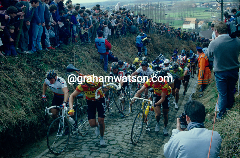 The Koppenberg in the 1986 Tour of Flanders