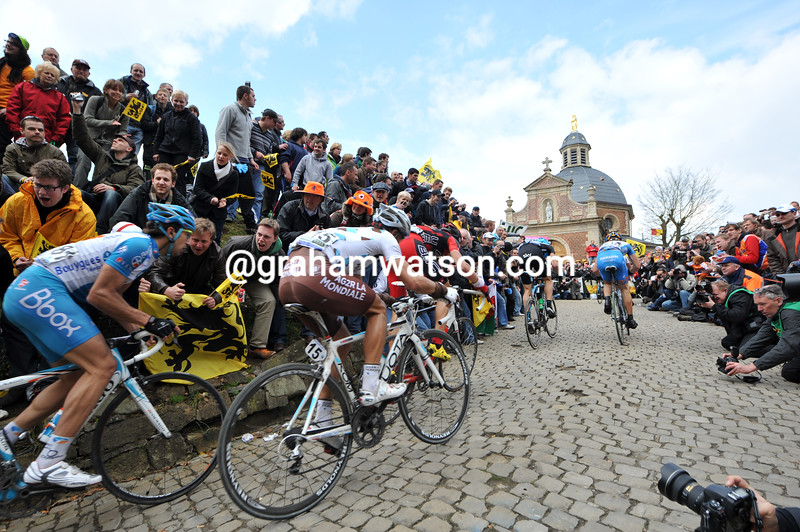 Cyclists on the Mur de Grammont in the 2010 Tour of Flanders