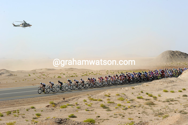 The 2011 Tour of Oman on a stage in the desert around Sur