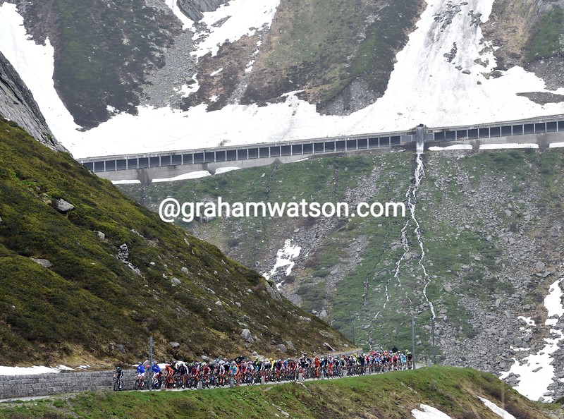 The peloton climbs the St Gotthard Pass on stage three of the 2015 Tour de Suisse