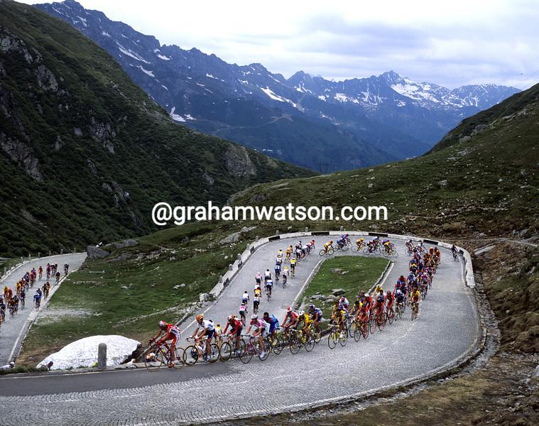 cyclists climb the St Gottard climb in the Tour de Suisse