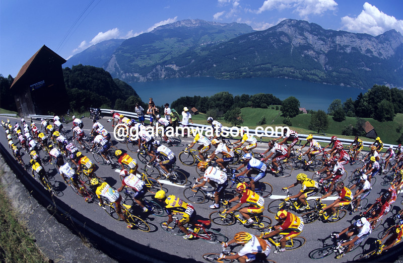 The peloton in the Tour de Suisse
