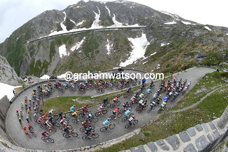 The peloton climbs the St Gotthard Pass in the 2015 Tour de Suisse