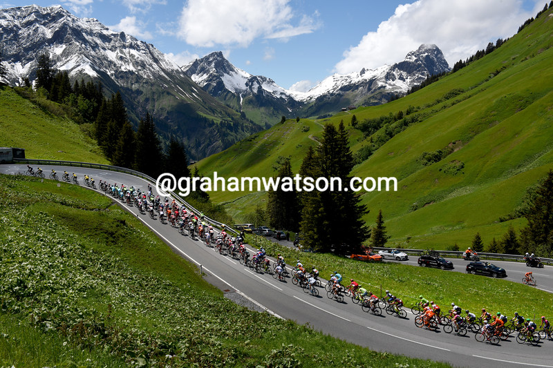 The 2016 Tour de Suisse climbs the Hochtannbergpass in Austria